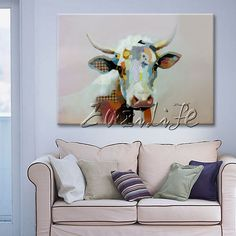 Animal Oil Painting Morden Abstract Cute Cow Wall Art On Canvas Hand Painted #Abstract