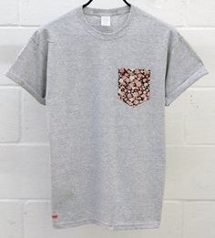 Men's Floral Pattern Grey Pocket TShirt