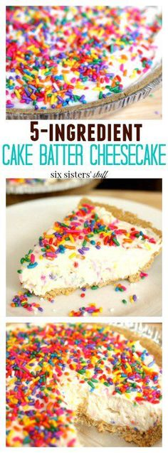 5 Ingredient Cake Batter Cheesecake dessert from Six Sisters' Stuff Perfectly cool, light, and fluffy cheesecake, thrown together in just a matter of minutes. Your favorite cake batter flavor topped with sprinkles and no baking required. Mini Desserts, Brownie Desserts, Cheesecake Desserts, Birthday Cheesecake, Easy Desserts For Kids, No Bake Summer Desserts, Cream Cheese Desserts, Homemade Cheesecake, Easy Cheesecake Recipes