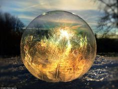 She creates the frozen bubbles in the back garden of her home in Pennsylvania and uses the rising sun to light up the bubbles from behind