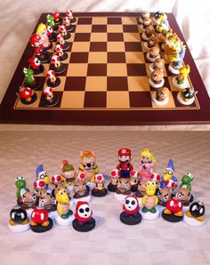My Super Mario Bros Chess set. Long hours of work produced this chess set, all of the pieces were individually sculpted using Super Sculpey and then hand painted with Acrylics. Fimo Clay, Polymer Clay Charms, Chess Pieces, Game Pieces, Geek Crafts, Clay Crafts, Mario Crafts, Mario Bros, Gameroom Ideas