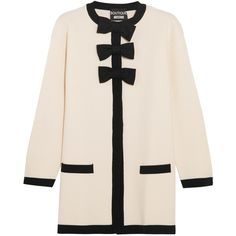 Boutique Moschino Bow-embellished wool and cotton-blend jacket (1.085 BRL) ❤ liked on Polyvore featuring outerwear, jackets, coats, coats & jackets, cardigans, snap jacket, retro jackets, embellished jacket, boutique moschino and woolen jacket