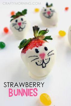 White Chocolate Strawberry Bunnies - Crafty Morning