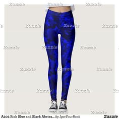 A202 Rich Blue and Black Abstract Design Leggings-A202 Rocky Crags in Blue - An abstract design with blue illuminated rock-like edges. Shadows are seen in this 3-Dimensional graphic art abstract image. #gravityx9 designs