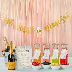 Mimosa Bar 10-Piece Kit - Gold Glitter | Kate Aspen Brunch Party Decorations, Brunch Decor, Bridal Shower Decorations, Brunch Ideas, Brunch Bar, Bridal Shower Signs, Bridal Shower Foods, Simple Bridal Shower, Breakfast Ideas