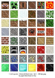 Inchies Minecraft Blockfaces Set 1 Digital By Paper2download Minecraft