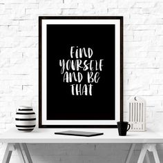 find yourself office inspirational tumblr quote typographic print quote print scandinavian motivational tumblr room decor framed quotes