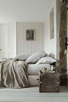 rustic wood box as bedroom nightstand
