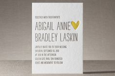 Passing Notes Letterpress Wedding Invitations by annie clark at minted.com.  Change the text and Voila!