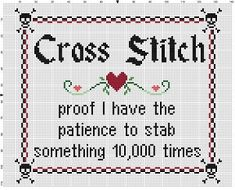 Cross Stitch, proof I have the patience to stab something 10,000 times - Crafty Subversive Cross Stitch Pattern - Instant Download