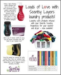 """I have a confession... since I started as a Scentsy Consultant I have been primarily focused on warmers and wax as I simply love them! I have placed orders for Layers Laundry products, but I have never actually tried them myself. Mainly because I have been a """"Tide"""" girl all my life. I decided to try the Layers products as so many people I've talked to love them... well... I am hooked now too! They make the laundry smell AWESOME!   www.jenniferfry.scentsy.ca/Buy/Category/1659"""
