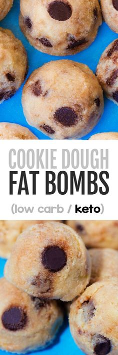 Chocolate Chip Cookie Dough Fat Bombs - Fat bombs are an easy and low carb keto dessert that taste like chocolate chip cookie dough! Vegan Peanut Butter Cookies, Keto Chocolate Chip Cookies, Chocolate Recipes, Chocolate Truffles, Vegan Keto Recipes, Low Carb Recipes, Paleo Diet, Vegetarian Keto, Healthy Recipes