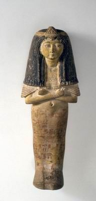 """Elaborate Shabti of the """"Lady of the House …,"""" a title commonly used for married women Egypt 13th century BCE Painted limestone H: 24.7; W: 9 cm Gift of Abraham Guterman, New York, to American Friends of the Israel Museum"""