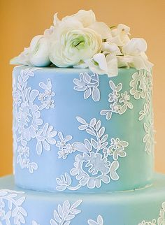 lace details // Gateaux Inc 2 Tier Cake, Tiered Cakes, Cute Wedding Ideas, Wedding Inspiration, Town And Country Magazine, Brush Embroidery, Cake Piping, Decadent Cakes, Blue Cakes