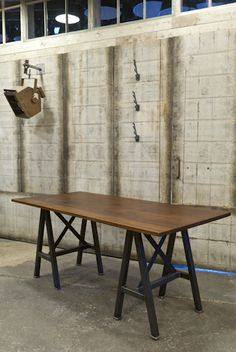 Med meeting room / made to order Iroko table from retrouvius / £1950