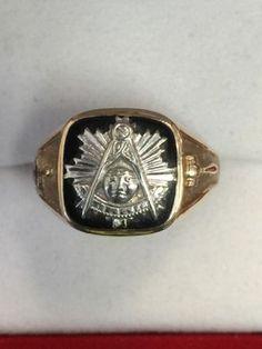 White Yellow 14k Solid Back Gold Masonic Past Master Freemason Mason Ring