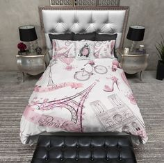 Whimsy in Paris Eiffel Tower Duvet Bedding Sets