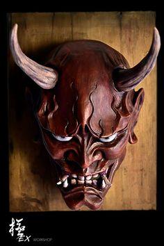 Hannya mask red by pochishen on DeviantArt