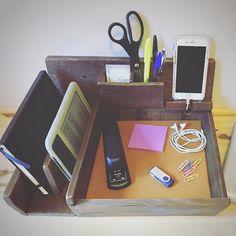 Desk Organizer   Office Caddy   Wood Desk Tray   Business Card Holder    Phone Dock