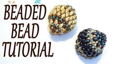 Beaded bead tutorial - How to make a beaded bead - Miniduo beaded bead tutorial - Beading tutorial - YouTube