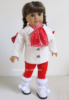 American Girl Doll Clothes Fully Lined Quilted Coat+Red Leggings+Red/White Scarf +Boots 264N by dmucollections on Etsy https://www.etsy.com/listing/210012409/american-girl-doll-clothes-fully-lined
