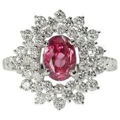 Unheated Ceylon Pink Sapphire Ring | From a unique collection of vintage more rings at https://www.1stdibs.com/jewelry/rings/more-rings/