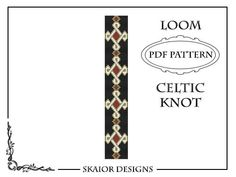 Loom Beading Pattern Celtic Knot Bracelet Cross Seed Beads Tribal Black White Loom Beaded Pattern Knotwork PDF Geometric Bookmark Loomwork