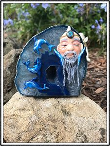 "polymer clay sculptures, sculpture artist,      Crystal Keeper ""Neb"" (name meaning Ancient Waters)     Handmade Item     Materials: Blue Agate Geode, Polymer Clay     Represents: Second sight, Atlantean, Integrating spiritual with the emotional Dolphins"