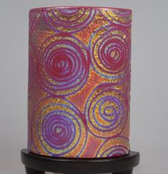 This lamp is made of pink and dichroic glass. The base is ceramic painted in black. A nice accent to any room. Dichroic Glass, Fused Glass, Stained Glass, Delphi Glass, Glass Art, Glass Lamps, Artist Gallery, Lamp Design, Three Dimensional