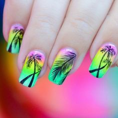 @nailartsakura has us feeling tropical in neons using the China Glaze Electric Nights collection!
