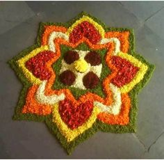 Best Pookalam Designs For Onam 2019 50 Best Pookalam Designs For Onam Best Pookalam Designs For Onam Festival Rangoli Designs Flower, Colorful Rangoli Designs, Rangoli Ideas, Rangoli Designs Diwali, Rangoli Designs Images, Diwali Rangoli, Flower Rangoli, Beautiful Rangoli Designs, Flower Designs