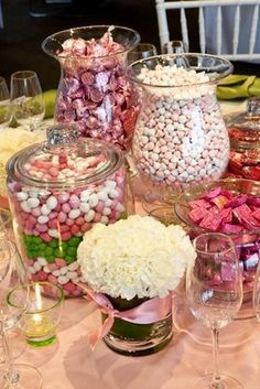 I Love the Old Skool Candy Table idea. mix of different shaped and sized mason jars etc would look good x Candy Buffet Tables, Candy Table, Dessert Table, Candy Centerpieces, Baby Shower Centerpieces, Wedding Centerpieces, My Funny Valentine, Valentine Ideas, Baby Shower Themes