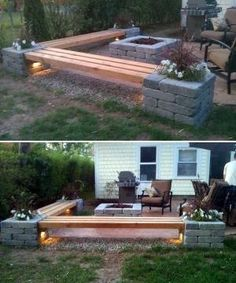 DIY corner bench around the firepit:31 Insanely Cool Ideas to Upgrade Your Patio This Summer by mariam