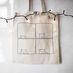 Updates from miskabags on Etsy Sacs Tote Bags, Diy Tote Bag, Canvas Tote Bags, Painted Canvas Bags, Tote Bags For College, Cat Bag, Linen Bag, Fabric Bags, Reusable Bags