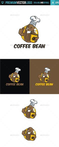 Coffee Bean,bean, blog, cartoon, character, chef, coffee, cup, face, food, fun, happy, hot, logo, mascot, restaurant, unique