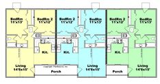 I like the triplex, but with the two homes on the outsides increased. With exposed ranch basements. And a pool and sweet courtyard in the back. Duplex Floor Plans, Apartment Floor Plans, House Floor Plans, The Plan, How To Plan, Duplex Design, Multi Family Homes, Apartment Complexes, Apartment Layout