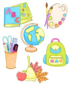 School Clipart, Flashcard, Teachers' Day, Student Gifts, Digital Stamps, School Days, Classroom Decor, School Supplies, Emoji