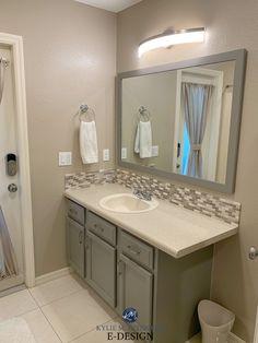 Taupe Bathroom, Bathroom Wall Colors, Painting Bathroom Cabinets, Cream Bathroom, Bathroom Color Schemes, Grey Bathrooms, Bathroom Fixtures, Bathroom Toilets, Bathroom Ideas