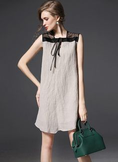 Linen Color Block Sleeveless Above Knee Casual Dresses