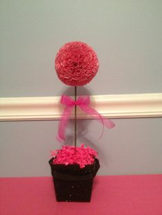 Pink Paper Ball Cupcake Topiary Table Decor/Centerpiece Birthday/Wedding Shower/Baby Shower/Bridal Shower. $12.99, via Etsy.