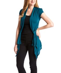 Another great find on #zulily! Teal Button-Gathered Open Cardigan by Simply Irresistible #zulilyfinds
