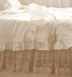 French Lace Shabby Chic Duvet Cover Made From By Thefadedtearose 399 99 Bedding Ruffle
