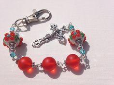 Orange Floral Catholic Rosary Keychain by IrishExpressions on Etsy