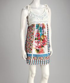 Take a look at this Blue Floral Tie Dress by Grifflin Paris on #zulily today!