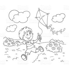 Coloring Page Outline Of Cartoon Boy Running With A Kite Royalty Free Stock Vector Art