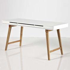 Schreibtisch Anneke Bürotisch Tisch MDF weiß matt lackiert Massivholz natur in Büro & Schreibwaren, Büromöbel, Tische | eBay