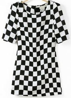 Black White Plaid Half Sleeve Vintage Dress pictures