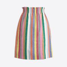 J.Crew+Factory+-+Mixed-stripe+linen-cotton+skirt