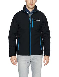 Columbia Men's Ascender Softshell Front-Zip Jacket, Black, Dark Compass, Large. For product & price info go to:  https://all4hiking.com/products/columbia-mens-ascender-softshell-front-zip-jacket-black-dark-compass-large/
