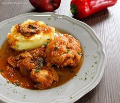 Κοτόπουλο κοκκινιστό με μανιτάρια Cauliflower, Meat, Chicken, Vegetables, Recipes, Food, Cauliflowers, Essen, Eten